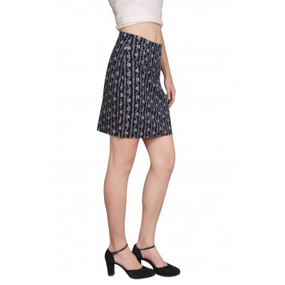Starsy Printed Women's Regular Dark Blue Skirt