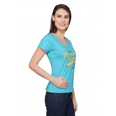 Starsy Printed Women's Round Neck Blue T-Shirt