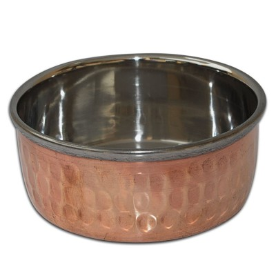 RoyaltyRoute Copper Stainless Steel Dinnerware Thali Set Traditional Indian Cuisines Serving Utensils Set