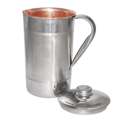 RoyaltyRoute Copper Water Jug Pitcher with Lid Drinkware for Ayurvedic Health Benefits 1700 ML