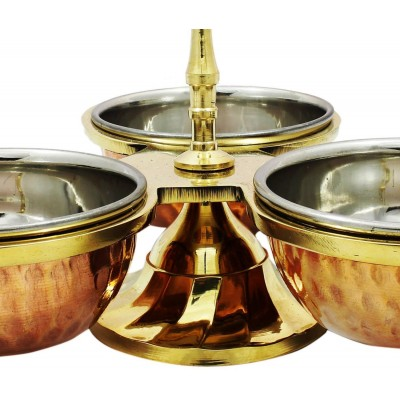RoyaltyRoute Tableware Copper Serveware Pickle Condiment Holder Three Serving Bowls Set