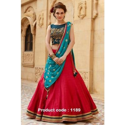 Dazzling Deals Women's Baglori Silk Lehenga Choli (Lehenga_1189_01_Free Size_Red)