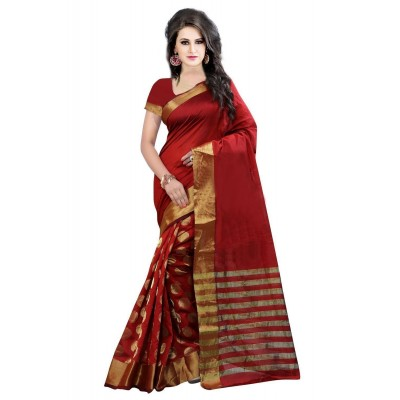 Suhaz Collection Women's Red Cotton Saree