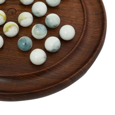 Royaltyroute Solitaire Wooden Travel Board Games With 36 White Glass Marbles