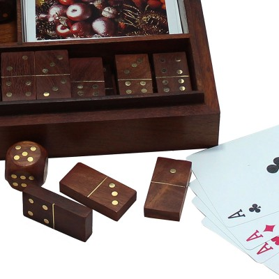 RoyaltyRoute 3 in 1 Game Set Wooden Domino Dices Playing Cards Deck, Wooden Box Case