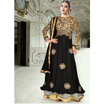 FABFIRKI New cream and Black Anarkali Suit