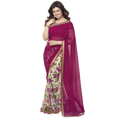 Dazzling Deals Pink Printed georgette half & half saree(Unstitched)