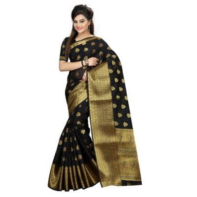Valentine Fashion Fabulous Black Jequard cotton Saree
