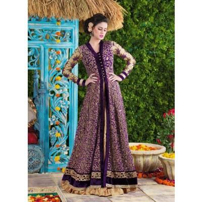 Sundram Fab Presents Charming Purple Embroidery Designer Salawar Suit