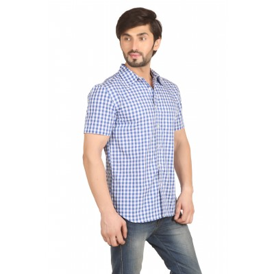 Starsy BLUE Color Checkered Cotton Shirt for Men