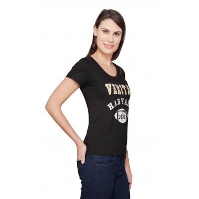 Starsy Printed Women's Round Neck Black T-Shirt