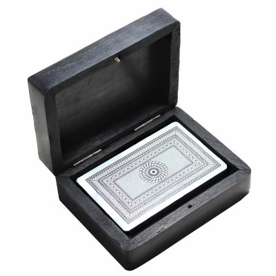 Card Games Wooden Single Card Box With 1 Deck of Playing Cards