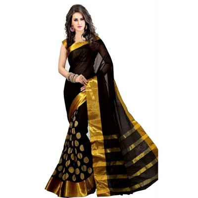 Suhaz Collection Women's Black Cotton Saree
