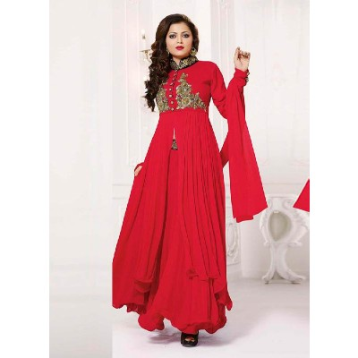 New Dazzling Red Designer Plazzo Style Anarkali Salwar Suit