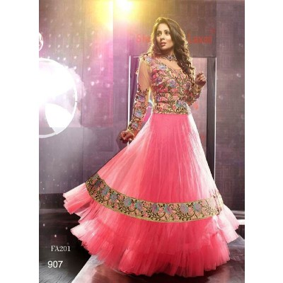 Latest Light Pink Designer Net Anarkali Suits