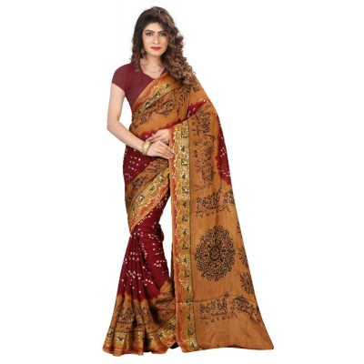 Bandhej Saree Jacquard silk