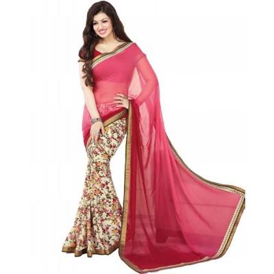 Dazzling Deals Woman's Georgette Multi Color Saree(Unstitched)