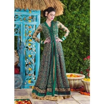 Sundram Fab Presents New Gorgeous Green Embroidery Designer Salwar Suit