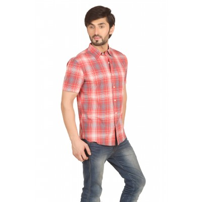 Starsy Red Color Checkered Cotton Shirt for Men