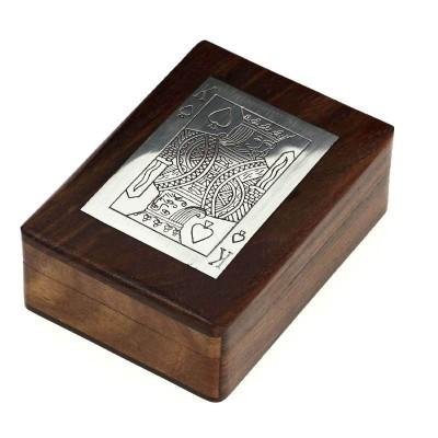 Handmade Wooden Box Holder of 1 Deck Playing