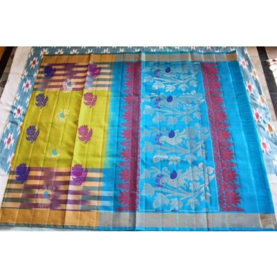 Ikkat Pure Silk Handloom Light Weight Sarees with contrast pallu and blouse