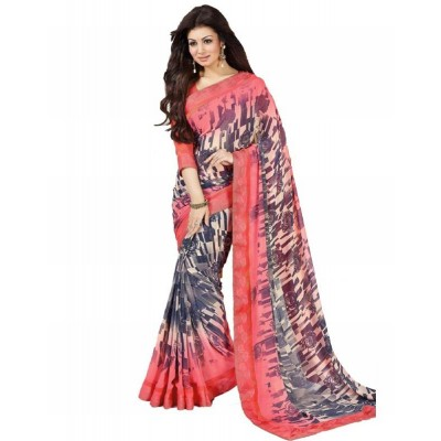 Dazzling Deals Woman's Georgette Multi Color Saree(Unstitched)