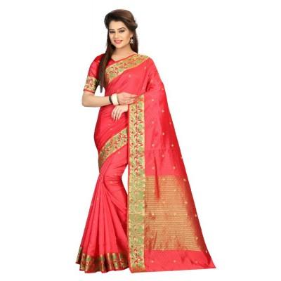 Valentine Fashion Fabulous Light Red Nyloan cotton Saree