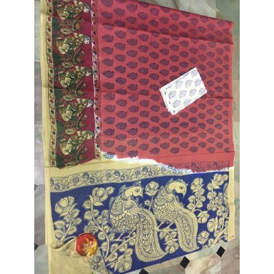 Kalakari screen print cotton sarees