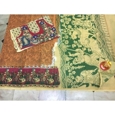 Kalakari screen print cotton sarees