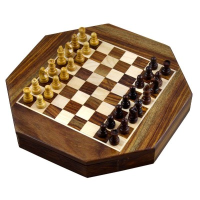 Magnetic Octangle Shape Chess Pieces Set and Wooden Board Travel Games with Storage 9 Inches