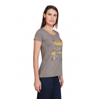 Starsy Printed Women's Round Neck Grey T-Shirt