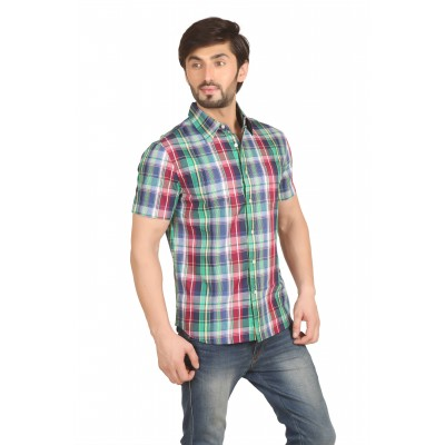 Starsy Multi Green Color Checkered Cotton Shirt for Men