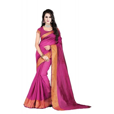 Suhaz Collection Women's Pink Cotton Saree