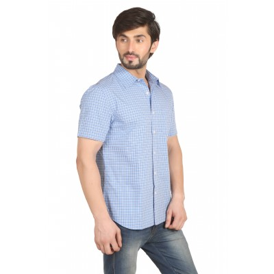 Starsy Light Blue Color Checkered Cotton Shirt for Men