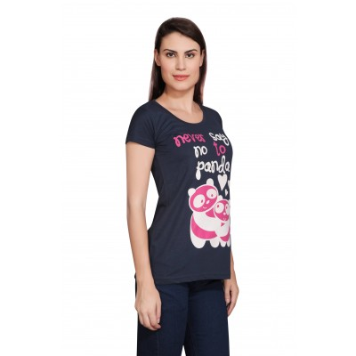 Starsy Printed Women's Round Neck Dark Blue T-Shirt