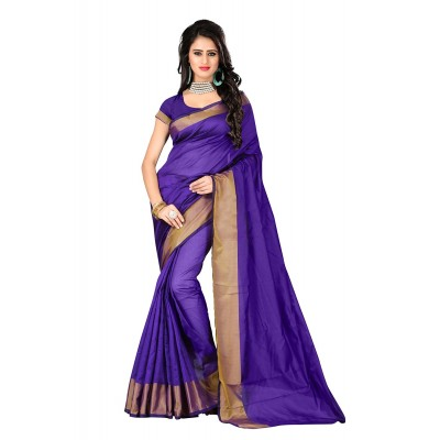 Suhaz Collection Women's purple Cotton Saree