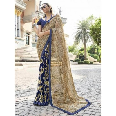 Glamory saree Women's Georgette Saree With Blouse Piece