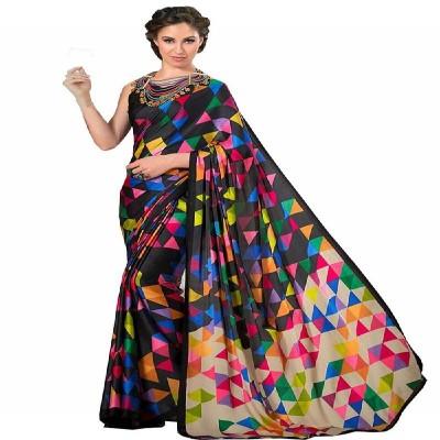 Glamory saree Women's Paper Silk Saree With Blouse Piece