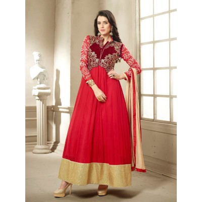 Sundram Fab New Arrival Pesents Beautiful Red Anarakali Suit
