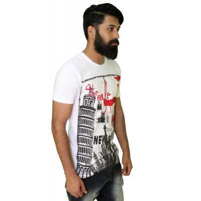 Starsy White 100% Cotton Printed T-Shirt for Men