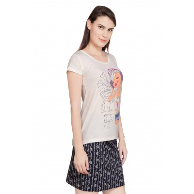 Starsy Printed Women's Round Neck White T-Shirt