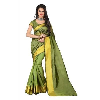 Suhaz Collection Women's Green Cotton Saree