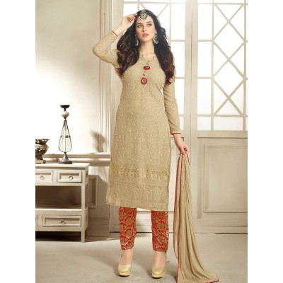 Sundram Fab Pesents Beautiful Dark Cream Anarakali Suit