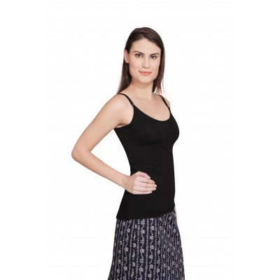 Starsy Casual Sleeveless Solid Women's Black Top