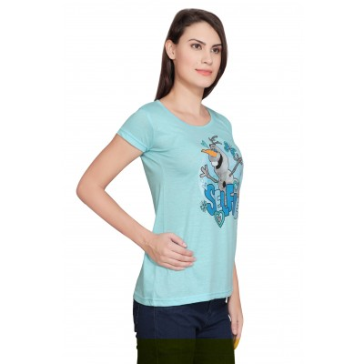 Starsy Printed Women's Round Neck Light Blue T-Shirt