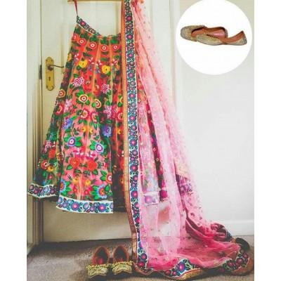 Dazzling Deals Pink Banglori Silk Lehenga(Semi Stitched)
