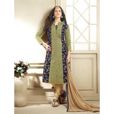 Sundram Fab Pesents Beautiful Black And Green Salwar Suit