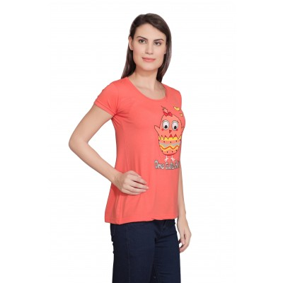Starsy Printed Women's Round Neck Orange T-Shirt