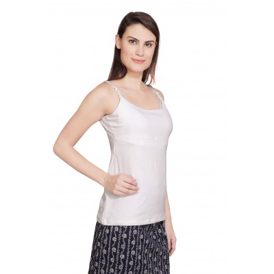 Starsy Casual Sleeveless Solid Women's White Top