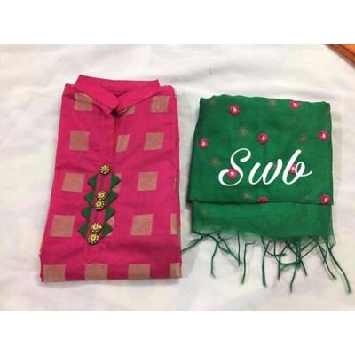 Chanderi unstitched dress material
